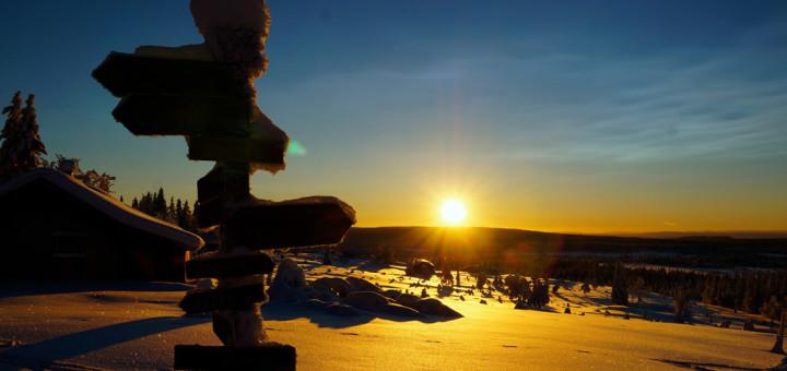 Vinter solnedgang skilt